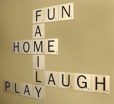 what a great game room decor! :) when we do our game room. Scrabble Wall Art, Scrabble Tiles, Scrabble Letters, Family Scrabble Art, Scrabble Crafts, Game Room Basement, Basement Ideas, Gameroom Ideas, Handmade Home Decor