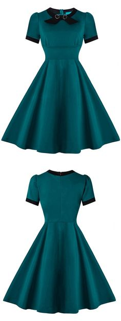 dark green party cocktail dress, elegant fashion party dresses, 1950s vintage style gowns.