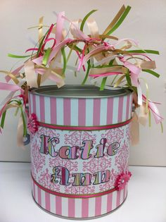Here is an altered paint can that I made for someone for a baby shower. Arts And Crafts, Paper Crafts, Craft Desk, Baby Album, School Decorations, Girls Camp, Paint Cans, Gift Baskets, Mason Jars
