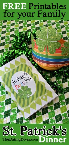 SO FUN!!  Love this St. Patrick's Day Dinner idea! Cute free printables too-nice!