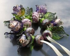SILVIA-Handmade-Lampwork-beads-Purple-and-Green-Flower-Beads-17-Sra