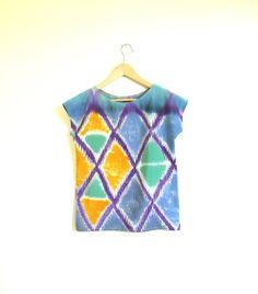 Hand painted SILK shirt IKAT DIAMOND one of kind sample  by xsilk, $98.00