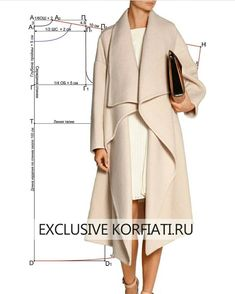 Выкройка пальто оверсайз от Анастасии Корфиати Lista com dicas e tutorias de: Sewing Coat, Sewing Clothes, Diy Clothes, Coat Patterns, Dress Sewing Patterns, Clothing Patterns, Coat Pattern Sewing, Skirt Sewing, Fashion Sewing