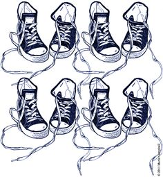 Basketball shoes line drawing in blue pen by www.thebohopress.co.uk