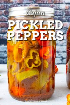 This easy homemade pickled peppers recipe pickles sweet or spicy chili peppers with Cajun seasonings. Makes a great condiment for burgers or chicken and lasts for months in the refrigerator. #healthy #snack #easyrecipe How To Pickle Peppers, Types Of Chili Peppers, Pickled Pepper Recipe, Pickled Hot Peppers, Cajun Seasoning, Chicken Seasoning, Spicy Chicken Recipes, Grilled Sausage, Spicy Chili