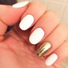 White Nails with Glitter Accent.