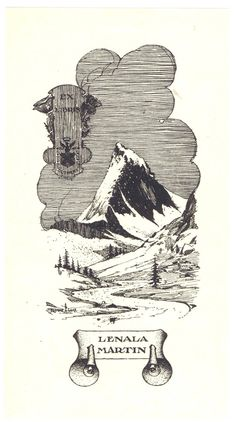 Mountaineering Theme Antique Vintage Bookplate by chemindesmuguets