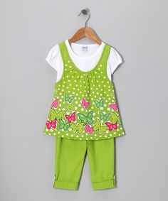 Take a look at this Lime Butterfly Polka Dot Tunic & Pants - Toddler & Girls by G Relations on #zulily today!