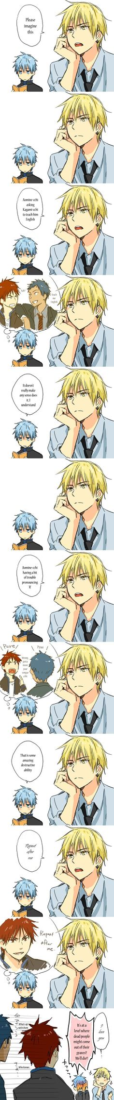 Aww, Kuroko's blush! XD Kise's adorable here, too... ~w~ though i didn't fully understood it lol