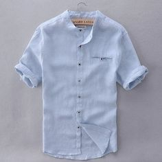 Cheap chemise fashion, Buy Quality shirt men slim directly from China casual men shirt Suppliers: Spain Brand Mens Shirts Linen Fashion Casual Men Shirt Short Sleeve Blue Summer Shirt Mens Slim Solid Shirts Men Camisa Chemise Summer Fashion Outfits, Men's Fashion, Trendy Outfits, Trendy Fashion, Fashion Photo, Fashion Trends, Style Français, French Style, Style Men