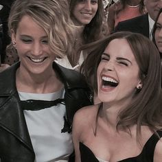 Emma Watson with Jennifer Lawrence at Christian Dior Fashion Show Haute Couture Fall/Winter 2014-2015 (7.07.2014, Paris, France) :)