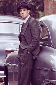 Tobias Menzies filming scenes for Outlander Season Three