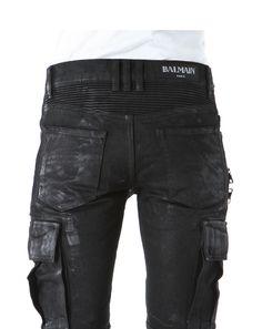 BALMAIN HOMME (balmanom) denim stretch cotton wax coating processing biker cargo pants BLACK