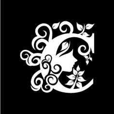 Graphic Design of Flower Clipart - White Alphabet C with Black Background