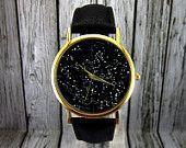 Vintage Constellation Watch   Leather Watch   Ladies Watch   Mens Watch   Gift Idea   Custom Watch   Fashion Accessory   Northern Hemisphere