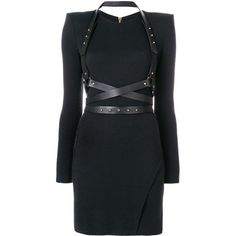 Balmain leather harness dress (301.660 RUB) ❤ liked on Polyvore featuring dresses, vestidos, balmain, black, embellished dress, short leather dress, long sleeve mini dress, embelished dress and mini wrap dress