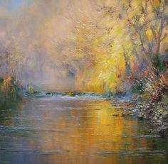 Autumn Reflections, Dovedale by British Contemporary Artist Rex PRESTON