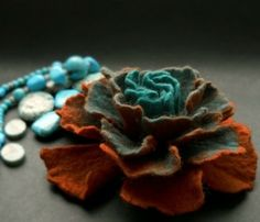 Ombre felt flower brooch by matilda