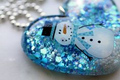 Sparkly Resin Heart Necklace Winter Snowman Festive by isewcute, $20.00