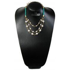 Collar de Moda con Perlas, Chaquira y Cadena de Aluminio