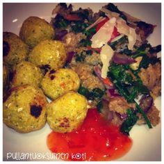 Pullantuoksuinen koti: Pikafalafelit ja kvinoa-lehtikaalihöystö Falafel and quinoa with greens