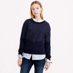 "Pieced and pinstriped, this chic sweatshirt is perfect for when the day calls for a bit more polish (but you still want to stay in your sweats). <ul><li>Loose fit.</li><li>Body length: 23 1/2"".</li><li>Cotton/poly.</li><li>Machine wash.</li><li>Import.</li></ul>"