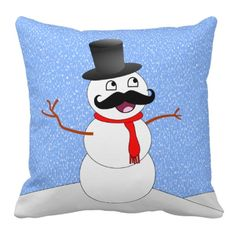 Vintage Snowman Pillow With Mustache Mustache Pillow, Funny Snowman, Christmas Snowman, Decorative Throw Pillows, Snoopy, Vintage, Inspiration, Art, Decorative Pillows