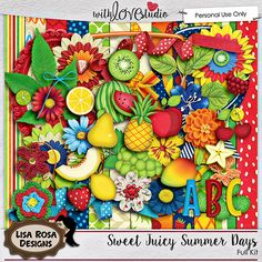 Sweet Juicy Summer Days digital scrapbooking kit from Lisa Rosa Designs. This bright and colorful kit is filled with lots of yummy fruit inspired elements perfect for documenting summer day enjoying strawberries, pineapple or other delicious fruits.