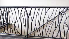 Tree branch style metal railing for interior or exterior use Metal Staircase Railing, Loft Railing, Modern Stair Railing, Balcony Railing Design, Stair Handrail, Modern Stairs, Fence Design, Staircase Design, Iron Handrails