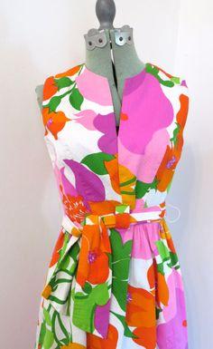 Vintage 1960s floral mod era sleeveless Malia by theragmuseum