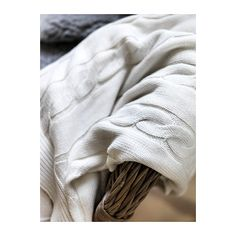 Ikea Ursula Knitted Cable Throw, Soft Cotton Blanket, Off White - just bought this yesterday and it is soooo soft! Cotton Blankets, Knitted Blankets, Ursula, Ikea Us, Cable Knit Throw, Design Your Life, Thing 1, Textiles, Shopping