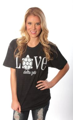THIS MIGHT BE THE CUTEST SHIRT I'VE EVER SEEN!!!!!!!! :D :D !!!! <3 Traditional Greek Love Tee – Delta Zeta