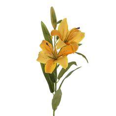 Flores artificiales online. Flores artificiales lilium amarillo con hojas. Alambre interior en el tronco. Flor decorativa de aspecto natural. Alto total  80 cms