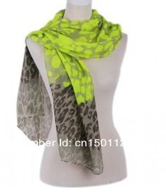 Neon and leopard print scarves. Grey and neon yellow or coral or pink or green. Also in beige and blue. £12.50 each
