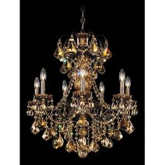 Schonbek New Orleans 7 Light Crystal Chandelier Finish / Crystal Color: Black Pearl / Strass Golden Teak
