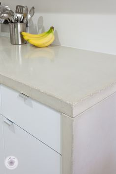 DIY concrete countertops with waterfall side