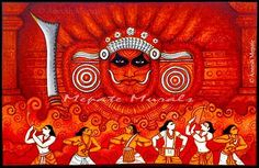 A Blend of mural paintings, creative and modern art, pencil sketches, fabric designs, product photography and display works done by artist Aneesh Mepate. Dance Paintings, Indian Art Paintings, Acrylic Paintings, Kerala Mural Painting, Fabric Painting, Art Forms Of India, Lord Ganesha Paintings, Mural Art, Murals