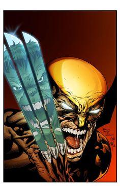 #Hulk #Fan #Art. (Wolverine Vs Hulk. Work of Davied Finch, Colored) By: Jorgecopo &Royhobbitz. ÅWESOMENESS!!!™ ÅÅÅ+