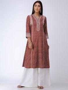 Red Bagh Printed Paneled Cotton Kurta