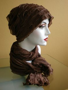sewing patterns chemo head scarves | Brown Ruffled Chemo Cap with Matching Scarf