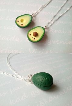 Best Friend Kawaii Avocado Necklace vegan jewelry avocado jewelry miniature food jewelry best friend kawaii charms friendship necklace is part of Cute crafts Bff - ClayCreationsForEver Cute Polymer Clay, Cute Clay, Fimo Clay, Polymer Clay Charms, Polymer Clay Creations, Handmade Polymer Clay, Polymer Clay Jewelry, Clay Beads, Polymer Clay Miniatures