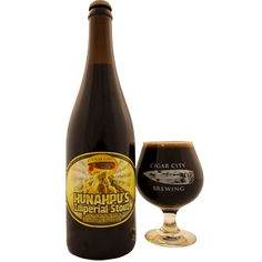 Hunahpu's - Imperial Stout.  In Mayan myth, Hunahpu gave cocoa to the Mayans.  An Imperial Stout Aged On Cacao Nibs, Madagascar Vanilla Beans, Ancho Chilis, Pasilla Chilis and Cinnamon.   We celebrate the release of Hunahpu's by hosting Hunahpu's Day the second weekend of every March. In addition to the release of Hunahpu's we feature live music, food vendors, incredible guest taps and many of our own special beers for all to try as well. It's becoming a hell of an event.