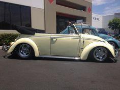 John Horan's 1965 Yukon Yellow Beetle Convertible, Pasadena, California, U.S.A. Full custom, Chrome cookies. 1000w stereo system. 1776cc powder coated black and chrome. John drives it to Vegas for the big show every year. Join him at:  https://www.facebook.com/vert.john
