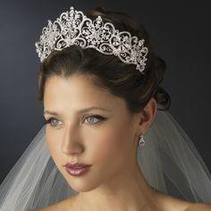 Regal Silver and Clear Rhinestone Floral Bridal Tiara! specialoccasionsforless.com