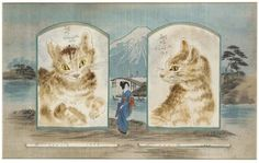 Nicely presented! Two Studies of Cats, Showa Period (1929)  One full-face and the other in profile, both ink and colours on paper, each signed above Tsuguharu in Japanese and Foujita 1929 in French, also signed Foujita 1929 below, presented as two separate cartouches in a silk-covered mount with a tourist painting of a lady standing in front of Mount Fuji