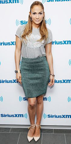 Jennifer Lopez wearing a heather gray tee featuring a sequined lip motif over a sequined emerald-green pencil-skirt, with nude ankle-strap pumps. Celebrity Dresses, Celebrity Style, Cute Gifts For Her, Jennifer Lopez Photos, Green Pencil Skirts, Glamour, Cool Style, My Style, Trends