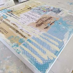 Making a shabby chic background for a new piece. vintage paper shabby chic mixed media art