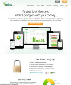 mint.com homepage, friendly, clean, simple