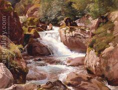 Johann Gottfried Steffan:A View Of Waterfalls