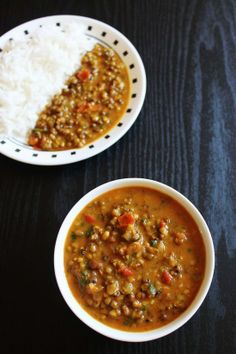 Whole green mung dal curry and rice. A balanced, quick and tasty lunch combo